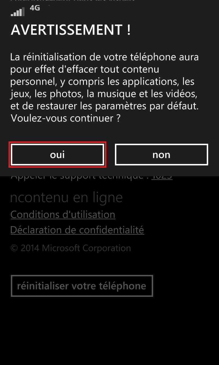 Sauvegarder restaurer mettre à jour son Lumia windows 8.1 maj reini confirmer