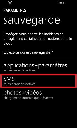 Sauvegarder restaurer mettre à jour son Lumia windows 8.1 sauvegarde SMS