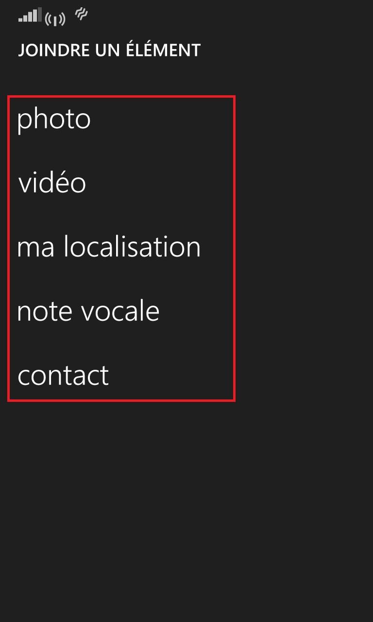 MMS Lumia windows 8.1 joindre