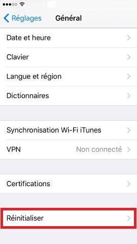 Iphone IOS 10 général reinitialiser